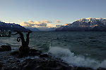 Statue of woman riding seahorse on the shore of the lake Léman, Vevay close to Montreux,Lausanne Switzerland.