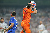 Real Madrid's Spanish goalkeeper Iker Casillas and Juventus Alvaro Morata
