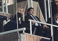 Football star Diego Armando Maradona with his new girlfriend Rocio Geraldine Oliva during La Liga match.March 02,2013. (ALTERPHOTOS/Acero) /NortePhoto