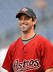 12 July 2008: Houston Astros' catcher Brad Ausmus warms up prior to a game against the Washington Nationals at Nationals Park in Washington, DC. The Astros defeated the Nationals 6-4 in the second game of their 3-game series...Mandatory Photo Credit: Ed Wolfstein Photo