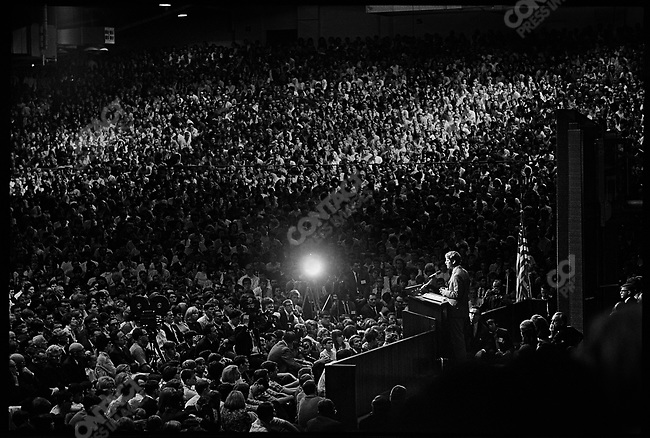 Senator Robert Kennedy campaigning for the Democratic nomination to the Presidency. Provo, Utah, USA, March, 1968.