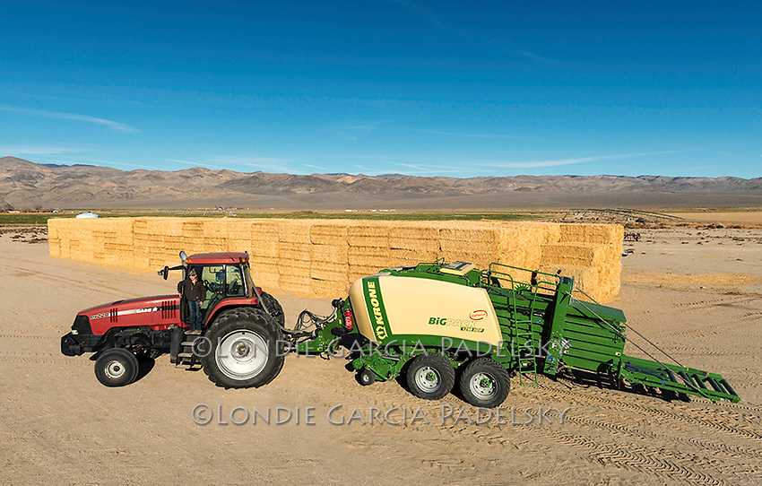 Katelyn Maurer (12 years old), driving the Case MX 220 Tractor<br /> with a Krone 1290 HDP Baler on the Triple D Ranch in Dyer, Nevada