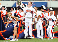 Sept. 3, 2011 - Charlottesville, Virginia - USA; Virginia Cavaliers Cheerleaders get excited during an NCAA football game against William & Mary at Scott Stadium. Virginia won 40-3. (Credit Image: © Andrew Shurtleff