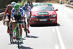The breakaway group Polka Dot Jersey David Villella (ITA) Cannondale Drapac, Thomas De Gendt (BEL) Lotto-Soudal, Alessandro De Marchi (ITA) BMC, Alexis Gougeard (FRA) AG2R and Arnaud Courteille (FRA) FDJ in action during Stage 13 of the 2017 La Vuelta, running 198.4km from Coin to Tomares, Seville, Spain. 1st September 2017.<br />
