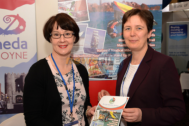 Maura O'Connell and Brona Reilly on the Borough Council stand at the Drogheda Chamber Business Expo in the Westcourt Hotel. www.newsfile.ie