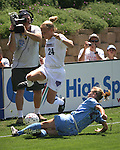 Jacqui Little (24) jumbs as Leslie Gaston (29) knocks the ball out of bounds at Torero Stadium in San Diego, CA on 8/24/03 during the WUSA's Founders Cup III between the Atlanta Beat and Washington Freedom. The Freedom won 2-1 in overtime.