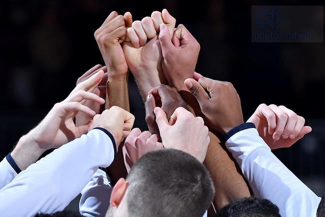 December 4, 2016; Men's Basketball team huddles before a game. (Photo by Matt Cashore)