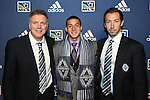 January 17th, 2013: #5 draft pick Erik Hurtado, selected by the Vancouver Whitecaps FC, with team President Bob Lenarduzzi (left) and head coach Martin Rennie (SCO) (right). The 2013 MLS SuperDraft was held during the NSCAA Annual Convention held in Indianapolis, Indiana.