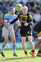 Joe Simpson of London Wasps passes during the Aviva Premiership match between London Wasps and Saracens at Adams Park on Saturday 29th March 2014 (Photo by Rob Munro)