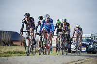 lead group over the Haaghoek cobbles<br /> <br /> Omloop Het Nieuwsblad 2015
