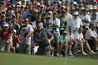 Boo Weekly watches his flop shot from the side of the 7th green during the Afternoon Fourball on Day 2 of the Ryder Cup at Valhalla Golf Club, Louisville, Kentucky, USA, 20th September 2008 (Photo by Eoin Clarke/GOLFFILE)