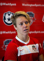 Washington Spirit captain Lori Lindsey talks to the media after the game at the Maryland SportsPlex in Boyds, MD.  The Washington Spirit defeated the North Carolina Tar Heels in a preseason exhibition, 2-0.