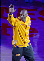 13.04.2016. Los Angeles, California, USA. Kobe Bryant #24 of the Los Angeles Lakers is honored prior to their game with the Utah Jazz at Staples Center in Los Angeles, California on Wednesday April 13, 2016. Today is Bryant's last game