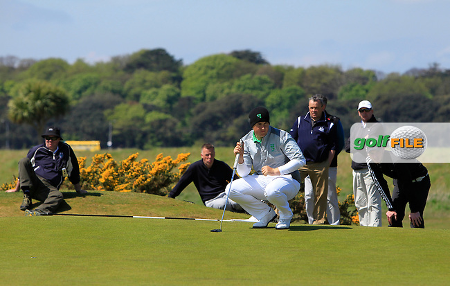 Colm Campbell Jnr. (Warrenpoint) on the 7th green during Round 4 of the Flogas Irish Amateur Open Championship at Royal Dublin on Sunday 8th May 2016.<br /> Picture:  Golffile / Thos Caffrey