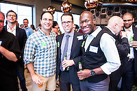 Joe Santoro, Rob Mandle, Kodi Seaton attend DC Tech Meets Muriel Bowser hosted by WeWork Wonder Bread Factory on August 13, 2014. Photos by Joy Asico /Guest of a Guest