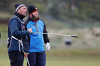 Andrew Johnston discussing his approach to the 6th with his caddie during the Hero Pro-am at the Betfred British Masters, Hillside Golf Club, Lancashire, England. 08/05/2019.<br /> Picture David Kissman / Golffile.ie<br /> <br /> All photo usage must carry mandatory copyright credit (© Golffile | David Kissman)