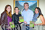 Kerry players Megan O'Connell, Sarah Houlihan and Deirdre Corridon help Donal Barry launch his book in the Plaza Hotel Killarney on Friday night