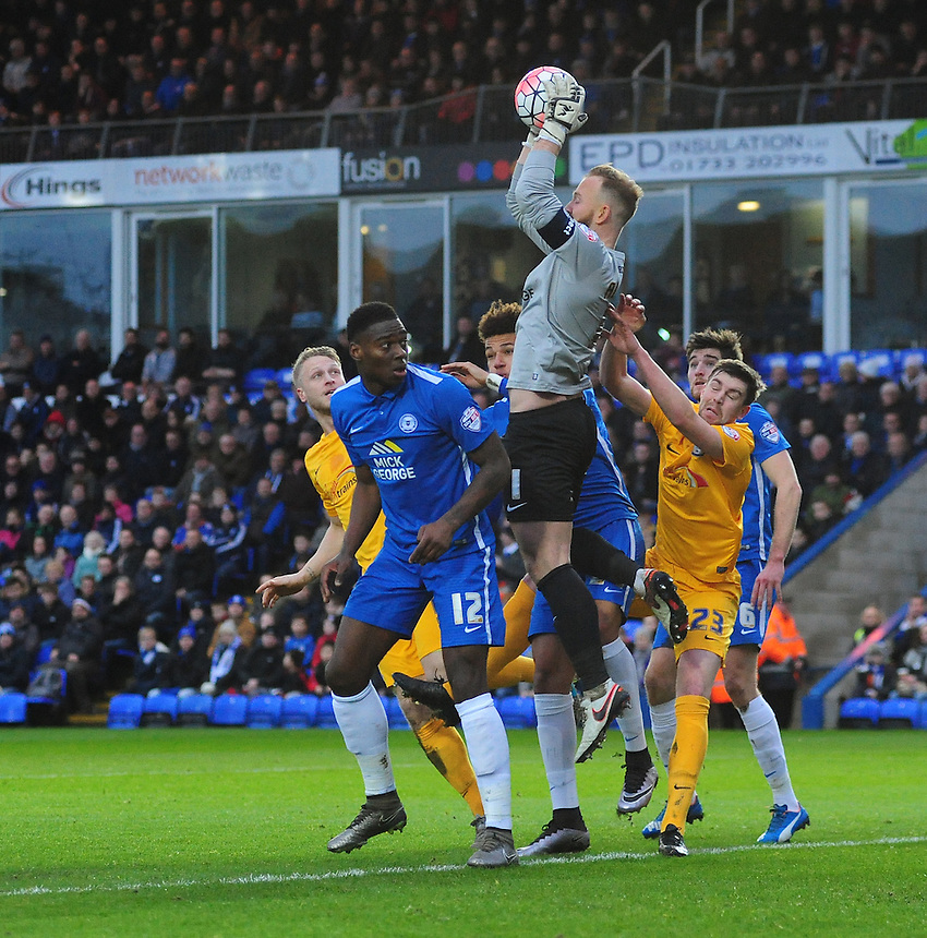 Peterborough United's Ben Alnwick claims a high ball<br /> <br /> Photographer Chris Vaughan/CameraSport<br /> <br /> Football - The FA Cup Third Round - Peterborough United v Preston North End - Saturday 9th January 2016 - ABAX Stadium - Peterborough <br /> <br /> &copy; CameraSport - 43 Linden Ave. Countesthorpe. Leicester. England. LE8 5PG - Tel: +44 (0) 116 277 4147 - admin@camerasport.com - www.camerasport.com