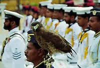 Military parade with eagle army mascot in Colombo, Sri Lanka