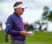 24.09.2014. Gleneagles, Auchterarder, Perthshire, Scotland.  The Ryder Cup.  Ian Poulter (EUR) looks up the yardage for his second shot on the 13th hole during his practice round.