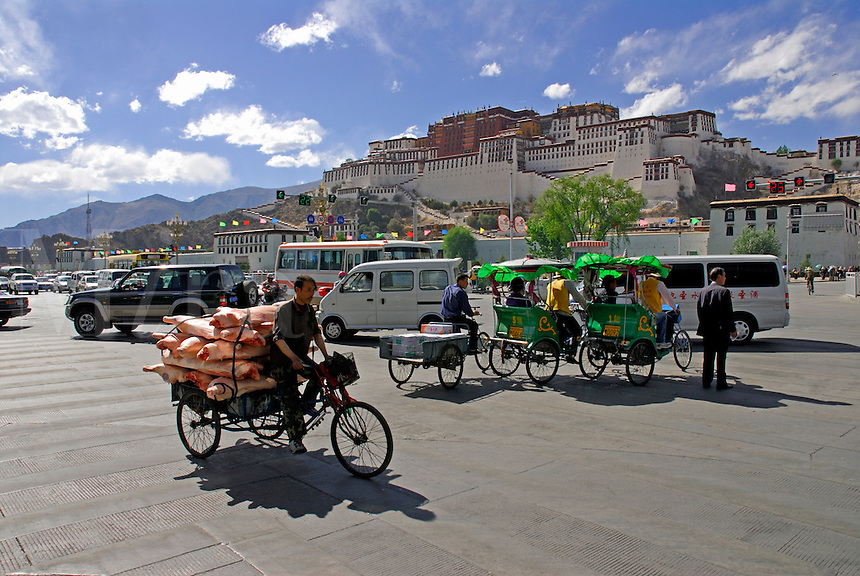 Traffic on the main road, Beijing Donglu, through Lhasa in front of the Potala Palace, home of the exiled Dalai Lama, Tibet.