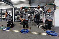(L-R) Yan Dhanda, Leroy Fer, Luciano Narsingh and Martin Olsson exercise in the gym during the Swansea City Training at the Fairwood Training Ground, Swansea, Wales, UK. Thursday 22 November 2018