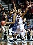 SIOUX FALLS, SD: MARCH 22: Gokul Natesan #31 from Colorado Mines looks for help while being pressured by Tyler Jenkins #14 from Bellarmine during the Men's Division II Basketball Championship Tournament on March 22, 2017 at the Sanford Pentagon in Sioux Falls, SD. (Photo by Dave Eggen/Inertia)