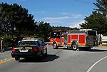 Emergency vehicles on Coast Highway One. San Gregorio