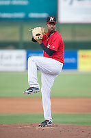 Kannapolis Intimidators starting pitcher Yency Almonte (17) in action against the Lexington Legends at CMC-Northeast Stadium on May 26, 2015 in Kannapolis, North Carolina.  The Intimidators defeated the Legends 4-1.  (Brian Westerholt/Four Seam Images)