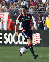 New England Revolution midfielder/defender Chris Tierney (8) looks to pass. In a Major League Soccer (MLS) match, DC United defeated the New England Revolution, 2-1, at Gillette Stadium on April 14, 2012.