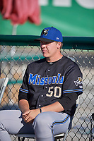 Landon Whitson (50) of the Missoula Osprey before the game against the Ogden Raptors at Lindquist Field on July 12, 2018 in Ogden, Utah. Missoula defeated Ogden 11-4. (Stephen Smith/Four Seam Images)