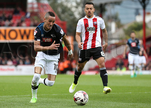 April 14th 2017,  Brent, London, England; Skybet Championship football, Brentford versus Derby County; Tom Ince of Derby County chasing the through ball