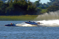 #109 catches air   (outboard hydroplane)
