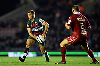 George Ford of Leicester Tigers looks to pass the ball. Heineken Champions Cup match, between Leicester Tigers and the Scarlets on October 19, 2018 at Welford Road in Leicester, England. Photo by: Patrick Khachfe / JMP