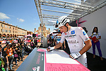 Maglia Bianca Nans Peters (FRA) AG2R La Mondiale at sign on before Stage 11 of the 2019 Giro d'Italia, running 221km from Carpi to Novi Ligure, Italy. 22nd May 2019<br /> Picture: Massimo Paolone/LaPresse | Cyclefile<br /> <br /> All photos usage must carry mandatory copyright credit (© Cyclefile | Massimo Paolone/LaPresse)