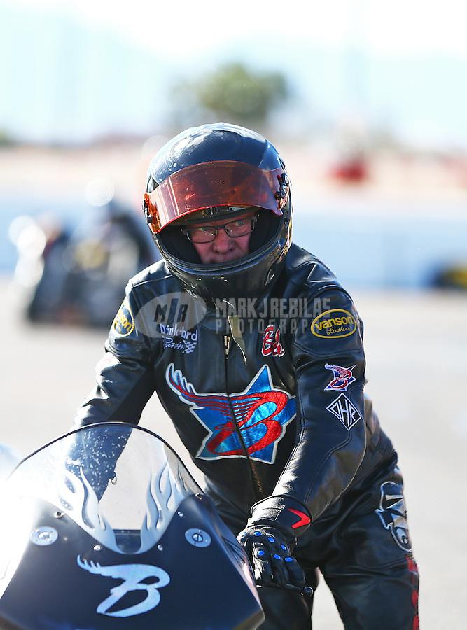 Feb 26, 2017; Chandler, AZ, USA; NHRA top fuel nitro Harley Davidson rider Bob Malloy during the Arizona Nationals at Wild Horse Pass Motorsports Park. Mandatory Credit: Mark J. Rebilas-USA TODAY Sports