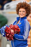 Kansas cheerleader performs during NCAA football game, Saturday, November 01, 2014 in Waco, Tex. Baylor defeated Kansas 60-14. (Mo Khursheed/TFV Media via AP Images)
