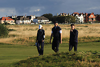 Harry Hall (GB&I) and Conor Gough (GB&I) on the 3rd during Day 2 Foursomes of the Walker Cup, Royal Liverpool Golf CLub, Hoylake, Cheshire, England. 08/09/2019.<br /> Picture Thos Caffrey / Golffile.ie<br /> <br /> All photo usage must carry mandatory copyright credit (© Golffile | Thos Caffrey)
