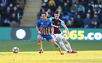 Shrewsbury Town's Shaun Whalley and West Ham United's Declan Rice<br /> <br /> Photographer Rob Newell/CameraSport<br /> <br /> The Emirates FA Cup Third Round - Shrewsbury Town v West Ham United - Sunday 7th January 2018 - New Meadow - Shrewsbury<br />  <br /> World Copyright &copy; 2018 CameraSport. All rights reserved. 43 Linden Ave. Countesthorpe. Leicester. England. LE8 5PG - Tel: +44 (0) 116 277 4147 - admin@camerasport.com - www.camerasport.com