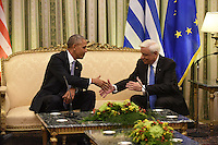 Pictured: Barack Obama during his meeting with President Prokopis Pavlopoulos at the Presidential Mansion in Athens, Greece. Tuesday 15 November 2016<br /> Re: US President Barack Obama state visit to Greece