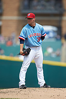 Columbus Clippers relief pitcher Jeff Beliveau (38) looks to his catcher for the sign against the Indianapolis Indians at Huntington Park on June 17, 2018 in Columbus, Ohio. The Indians defeated the Clippers 6-3.  (Brian Westerholt/Four Seam Images)