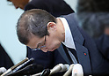 June 26, 2017, Tokyo, Japan - Japan's automobile parts maker Takata president Shigehisa Takata bows his head as he announces the company's bankruptcy at a press conference in Tokyo on Monday, June 26, 2017. Takata filed for bankruptcy protection, Japan's largest failure of manufacturing sector, to Tokyo district court as a global recall of the company's automotive air bags.   (Photo by Yoshio Tsunoda/AFLO) LwX -ytd-