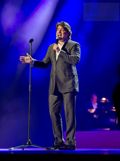 "Aug. 31, 2012; Singer Brian Kennedy sings in the ""Notre Dame a Welcome Home"" pep rally at O2 arena in Dublin...Photo by Matt Cashore/University of Notre Dame"