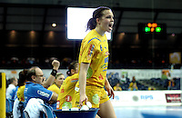 Handball Frauen / Damen  / women 1. Bundesliga - DHB - HC Leipzig : Frankfurter HC - im Bild: Das muss doch noch etwas zu drehen sein... HCL Spielerin Louise Lyksborg ruft ihren Teamkolleginnen zu. Porträt . Foto: Norman Rembarz .