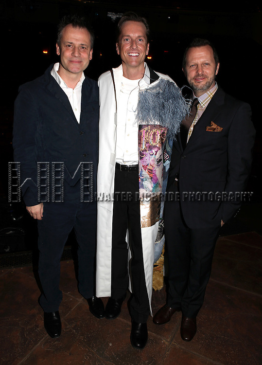 Michael Grandage, Matt Wall & Rob Ashford.attending the Broadway Opening Night Actors' Equity Gypsy Robe Ceremony for recipient Matt Wall in 'EVITA' at the Marquis Theatre in New York City on 4/5/2012 © Walter McBride/WM Photography