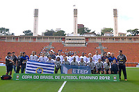 SÃO PAULO, SP, 10 DE JUNHO DE 2012 - FINAL DA COPA DO BRASIL DE FUTEBOL FEMININO: Equipe do São José durante partida São José E.C. x Centro Olimpico, válida pela Final da Copa do Brasil de Futebol Feminino em jogo realizado na manhã deste <br /> <br /> domingo (10) no Estádio do Pacaembú. FOTO: LEVI BIANCO - BRAZIL PHOTO PRESS