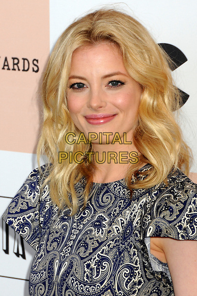 GILLIAN JACOBS.2011 Film Independent Spirit Awards - Arrivals held at Santa Monica Beach, - Santa Monica, California, USA, .26th February 2011..indie portrait headshot blue print smiling  paisley white .CAP/ADM/BP.©Byron Purvis/AdMedia/Capital Pictures.