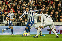 Real Madrid´s Nacho Fernandez and Isco and Deportivo de la Coruna's Lucas Perez during 2014-15 La Liga match between Real Madrid and Deportivo de la Coruna at Santiago Bernabeu stadium in Madrid, Spain. February 14, 2015. (ALTERPHOTOS/Luis Fernandez) /NORTEphoto.com