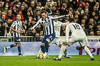 Real Madrid´s Nacho Fernandez and Isco and Deportivo de la Coruna's Lucas Perez during 2014-15 La Liga match between Real Madrid and Deportivo de la Coruna at Santiago Bernabeu stadium in Madrid, Spain. February 14, 2015. (ALTERPHOTOS/Luis Fernandez) /NORTEphoto.com