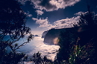 The coastline as seen from the Awini Trail going down into Pololu Valley, North Kohala, Big Island of Hawaiʻi.